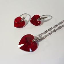 Бижута  с кристали Swarovski® HEART, Колие и обеци (14 и 10 мм) ръчна изработка, Код PR S035C