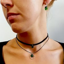 Чоукър колие Charming Choker Swarovski® OVAL 12мм Emerald**, Зелен, Код PR N499