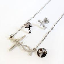 Бижута PULSE от стомана с кристали Swarovski® Rivoli Silver Night** AB - Черен,  Код 316L S244
