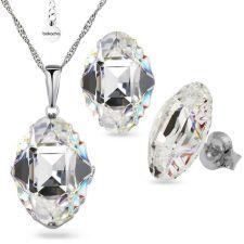 Бижута с кристали Swarovski® OVAL TRIBE 14мм Crystal AB, Бял цвят, Колие с обеци на винт, Код PR S562