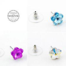 Обеци с кристали Swarovski® FLORAL Fuchsia - Наситено розов, Код PR E535
