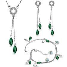 Бижута AMIKOS SWAROVSKI® MARQUISE 10мм Emerald - Зелен, Колие, обеци и гривна,  Код PR S541-3
