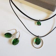 Бижута с кристали Swarovski® OVAL 12мм Emerald**, Зелен цвят,  Чоукър и Обеци, Код PR S499