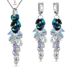 Комплект Swarovski® BLUE PASSION. Колие и Обеци Bermuda Blue BBL, Син цвят, Код PR S534