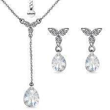 Бижута PASSION SWAROVSKI® MINI PEAR Crystal, Бял, Колие и Обеци (12 и 8мм), Код ZG S426