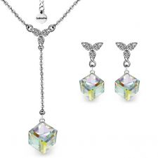 Бижута PASSION SWAROVSKI® CUBE Crystal AB, Бял цвят, Колие и Обеци 8мм,  Код ZG S424