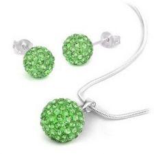 925SB S04181-E Колие и обици на винт Шамбала с кристали зелен цвят!
