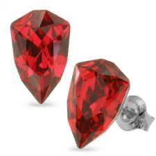 Обеци с кристали Swarovski® SLIM TRILLIANT на винт в Scarlet - Червен цвят, Код PR E633