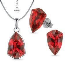 Бижута с кристали SWAROVSKI® SLIM TRILLIANT в Scarlet - Червен цвят, Колие с обеци на винт, Код PR S633