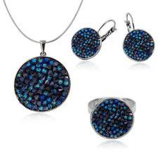 Бижута  с кристали Swarovski® CRYSTAL ROCK Bermuda Blue BBL - Син, Колие, Обеци и Пръстен, Код PR S440F-3