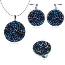 Бижута  с кристали Swarovski® CRYSTAL ROCK Bermuda Blue BBL - Син, Колие, Обеци и Пръстен, 25mm, Код PR S440E-3