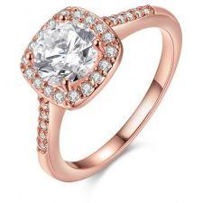Пръстен ПЕРФЕКТА ГОЛД с кристален цирконий и 18К Розово Злато, Колекция Zerga Brand ZG R556