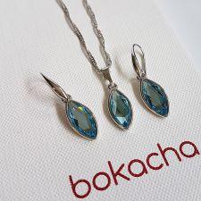 Бижута с кристали SWAROVSKI® MARQUISE Aquamarine, Син цвят, Колие и обеци Код PR S654A