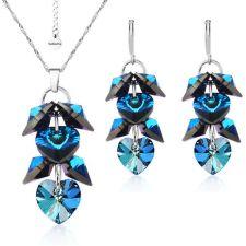 Бижута с кристали Swarovski® ROMANCE HEART Bermuda Blue BBL, Син, Колие и обеци 10 мм, Код PR S098