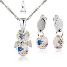 Бижута с кристали Swarovski® RIVOLI STRING Crystal Aurore Boreale** AB, Бял, Колие и обеци,  Код PR S407
