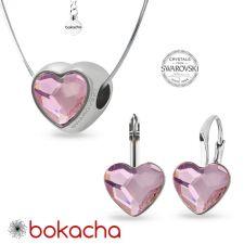 Обеци РОМАНТИЧНА ЛЮБОВ с кристали Swarovski® HEART 10мм Rosaline, Розов, Код PR E678
