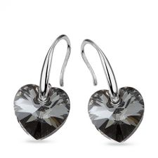 Обеци с кристали Swarovski® HEART, 10 мм, Silver Night** AB - Черен, Код PR E584