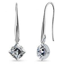 Обеци с кристали SWAROVSKI® SQUARE 6 мм, Crystal - Бял цвят, Код PR E613
