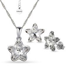 Бижута с кристали SWAROVSKI® STARBLOOM Crystal - Бял цвят, Колие с обеци на винт, Код PR S643
