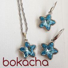Бижута с кристали SWAROVSKI® STARBLOOM Aquamarine, Син цвят, Колие и обеци Код PR S642A