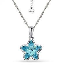 Колие с кристали SWAROVSKI®  STARBLOOM в Aquamarine - Син цвят, Код PR N642