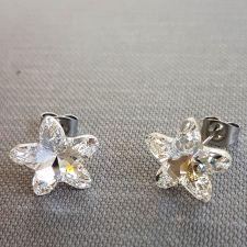 Обеци с кристали Swarovski® STARBLOOM на винт, Crystal - Бял цвят, Код PR E643