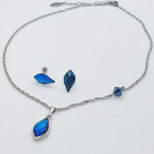 Комплект бижута SPARK с кристали SWAROVSKI® FLAME 14мм Bermuda Blue BBL - Син цвят, Колие и Обеци, Код PR S704