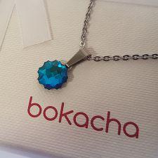 Колие с кристали SWAROVSKI® JELLY FISH Bermuda Blue BBL, Син цвят, Код PR N587