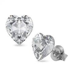 Обеци с кристали Swarovski® SWEET HEART 8.8мм на винт, Crystal - Бял цвят, Код PR E645