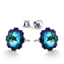 Обеци украсени със SWAROVSKI® JELLY FISH Bermuda Blue BBL, Син, Код PR E587