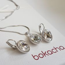 Бижута с кристали SWAROVSKI® OVAL Crystal, Бял цвят, Колие и обеци Код PR S655