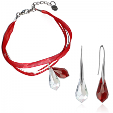 Бижута МАРТЕНИЦА SWAROVSKI® TEAR CRYSTAL & SIAM, бял и червен цвят, Обеци и Гривна,15мм, Код PR S436C