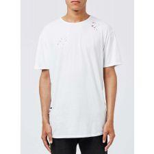 Eфектна тениска TOP MAN в бял цвят с къс ръкав, Размер XS, Код BL356