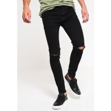 Ефектни Super Skinny Jeans TOPMAN, с ефект в гарваново черен цвят, Размер W 32, Код JJ505