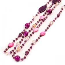 Дълго Колие ПЪСТРА ЕСЕН от натурални полускъпоценни камъни и Австриски кристали в лилаво, UB N366