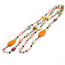 FINAL SALE! Дълго Колие ПЪСТРА ЕСЕН от разноцветни полускъпоценни камъни и Австриски кристали, UB N367