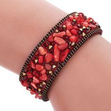 Гривна САНТОРИНИ с Естествени камъни, Червен цвят, Unique Boutique, UB B154
