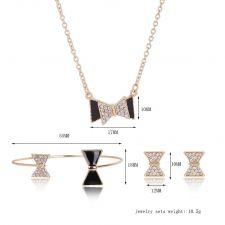 Бижута ЛИЛ, Колие, Обеци и Гривна с Австрийски кристали и Черен емайл, Код UB S330