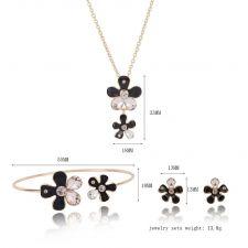 Бижута КАЛЕ, Колие, Обеци и Гривна с Австрийски кристали и Черен емайл, Код UB S331