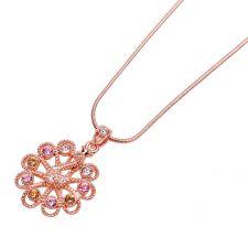 Колие МОНТАНА с Austrian Crystals и 18К Розово Златно Покритие, UB Unique Boutique, Код UBFNL N206