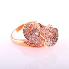 Пръстен КАЛА с Австрийски Кристали и 18К Розово Злато, Размер: 9, UB Boutique #UB R001