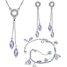 Бижута AMIKOS със SWAROVSKI® MARQUISE, Lavender- Лилав цвят, Колие, обеци и гривна,  Код PR S639-3