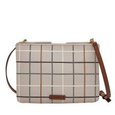 Чанта FOSSIL, цвят сив на цветно каре, Код F150