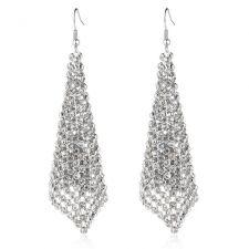 Обеци DIAMOND FLASH с бяло злато и Австрийски кристали, Код ZD E023