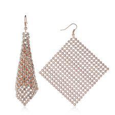 Обеци DIAMOND FLASH с розово злато и Австрийски кристали, Код ZD E024