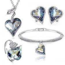 Колие, обеци, гривна и пръстен HEART IN LOVE, Бижута GLORY SWAROVSKI® Crystals, Код ZD S019-4