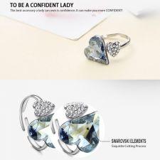 Колие, обеци и пръстен HEART IN LOVE, Бижута GLORY SWAROVSKI® Crystals, Код ZD S019-3А