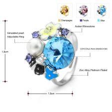 Пръстен CHAMPAGNE MYSTIC, ZYRDA Crystals from SWAROVSKI®, Код ZD R006