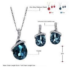 Колие и обеци TEAR DROP BLUE , Бижута ZYRDA Crystals from SWAROVSKI®, Код ZD S009