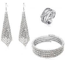 Бижута DIAMOND FLASH, Oбеци, гривна и пръстен с Австрийски кристали, Код ZD S015А